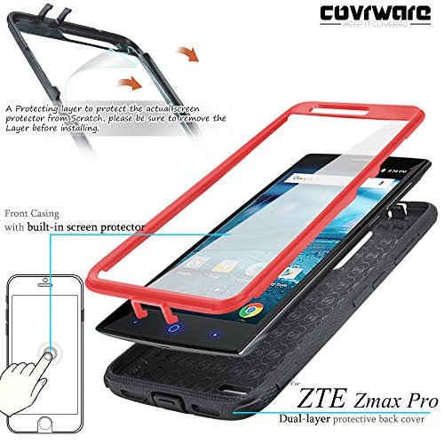 new product 88aa4 0c301 COVRWARE [Aegis Series] case Compatible with ZTE ZMAX PRO/ZTE Carry, with  Built-in [Screen Protector] Heavy Duty Full-Body Rugged Holster Armor Case  ...
