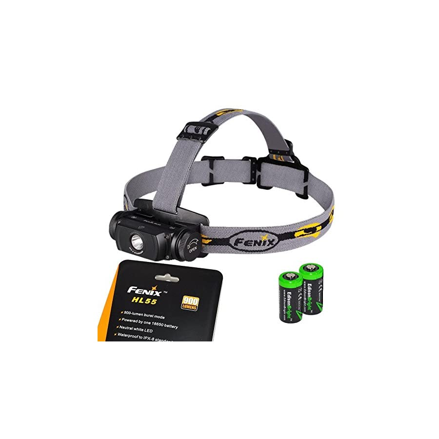 EdisonBright Fenix HL55 900 Lumen CREE XM L2 T6 LED Headlamp with 2 X CR123A Lithium batteries
