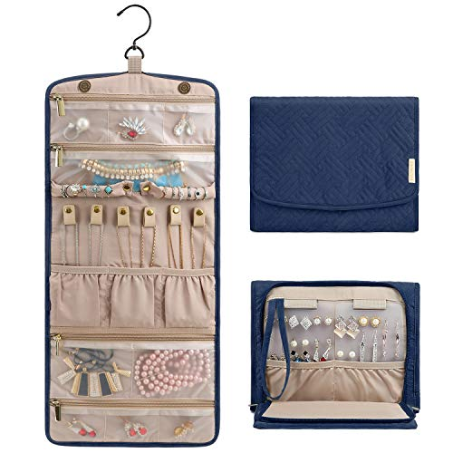 Journey Necklace Earrings - BAGSMART Travel Jewellery Organiser Roll Foldable Jewelry Case for Journey-Rings, Necklaces, Bracelets, Earrings, Smokey Blue