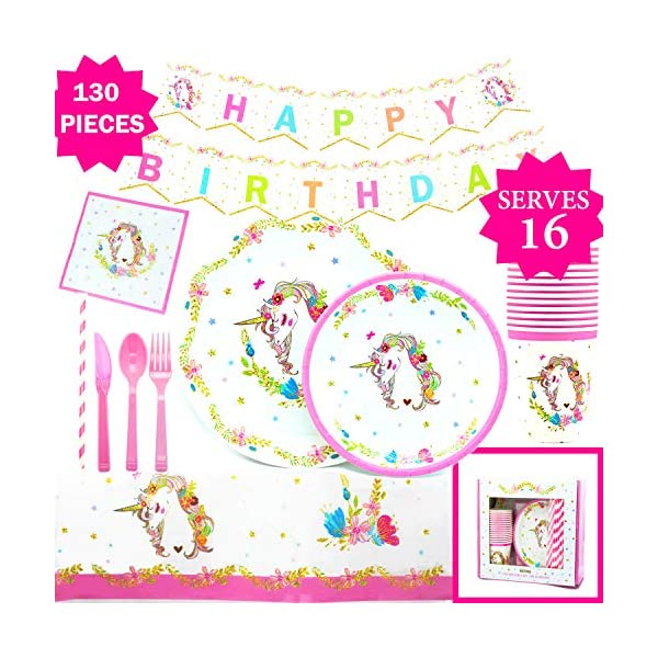 Gold Orongo Unicorn Party Supplies | Beautiful Birthday Decorations for Girls -Serves 16 - Unicorn Themed Party Magical Day for Your Little Princess | Complete Disposable Pink Set (130 Item kit) 2