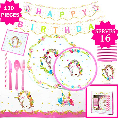 Gold Orongo Unicorn Birthday Party Supplies Beautiful Happy Pack for Girls -Serves 16 - Magical Day for Your Little Princess | Complete Disposable Set (130 Item kit) + Unlimited Cupcakes