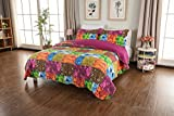 CozyLand Colorful Fashion Vintage Quilt Set Soft Lightweight 100% Pure Cotton 3-Piece Patchwork Floral Quilt Set for All Seasons Queen Size