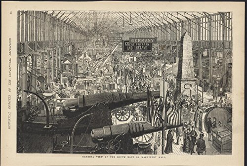 South Nave Cannons Machinery Hall Centennial 1876 antique wood - Engraving 1876 Antique