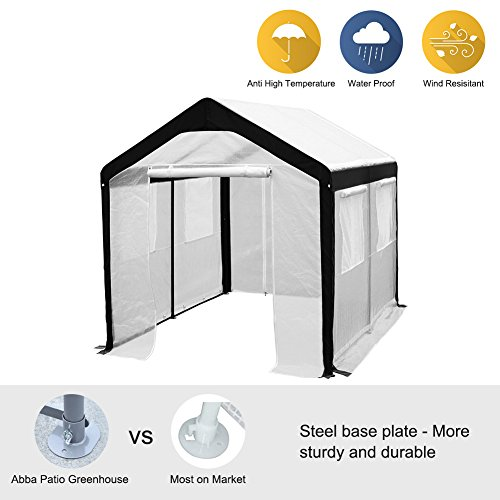 Garden Shed Greenhouse (Abba Patio 8 x 10-Feet Large Walk in Fully Enclosed Lawn and Garden Greenhouse with Windows, White)