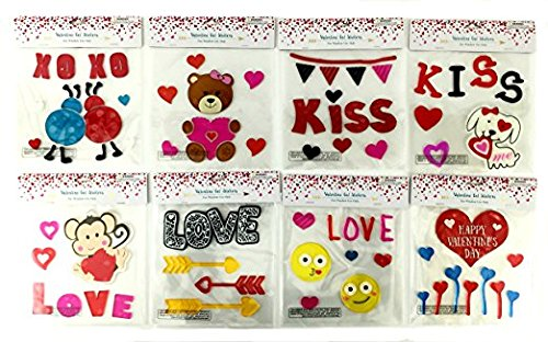 Valentines Day Hearts Love Gel Sticker Window Clings Bundle of 8 Packages