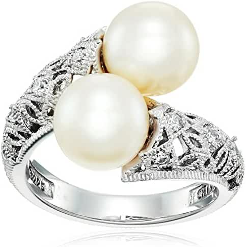 Platinum Plated Sterling Silver Swarovski Zirconia and Freshwater Cultured Pearl Bypass Ring