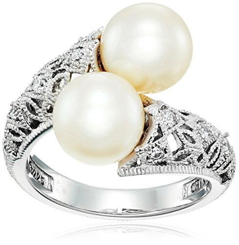 Platinum Plated Sterling Silver Made with Swarovski Zirconia Antique Bypass and Freshwater Cultured Pearl Ring, Size 7