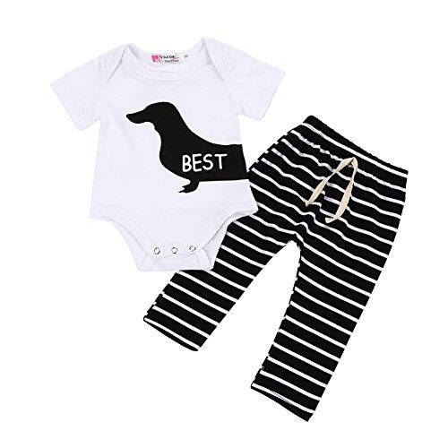 BabiBeauty Baby Girls Boys Best Friends Pants Set Short Sleeve Top + Stripe Pants (Best, 80/6-12 Months) (Friend Best Infant Bodysuit)