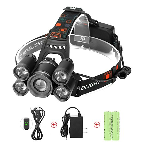 LED Headlamps, Neolight Super Bright 5 LED High Lumen Rechargeable Zoomable Waterproof...