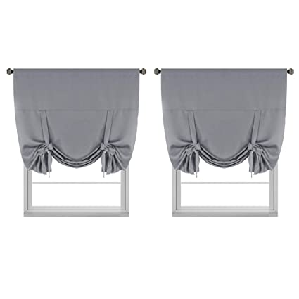 Bon H.VERSAILTEX Thermal Insulated Blackout Tie Up Curtains Adjustable Window  Shades For Living Room,