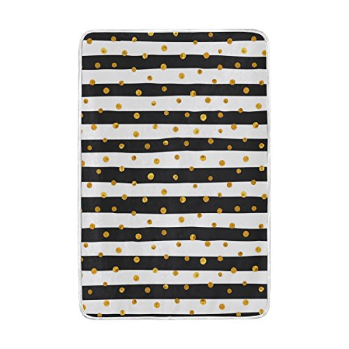 ALAZA Gold Dots White And Black Stripes Blankets Lightweight Blanket for Adults Men Women Girls Kids Girls Boys Teens Extra Soft Polyester Fabric Super Warm Sofa Blanket Throw Size 60 x 90 Inch