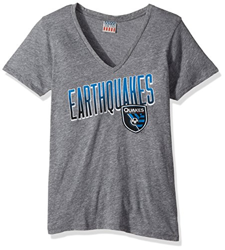 fan products of MLS San Jose Earthquakes Women's Short sleeve V-Neck Top, Medium, Steel