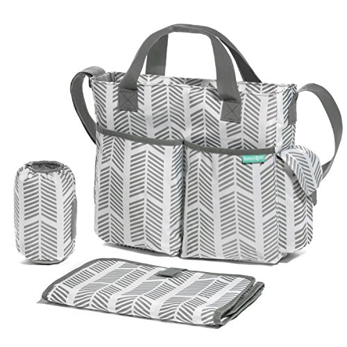 Diaper Bag/Breast Pump Tote Bag- Stylish Arrows, Functional Baby Stroller Organizer – Adjustable Stroller Strap – Eight Total Pockets – Easy to Clean – BONUS: Baby Changing Pad