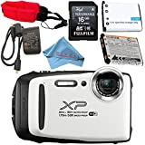 Fujifilm FinePix XP130 Digital Camera (White) #600019827 + Camera Floating Strap + Replacement Lithium Ion Battery + MicroFiber Cloth Bundle