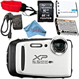 Cheap Fujifilm FinePix XP130 Digital Camera (White) #600019827 + Camera Floating Strap + Replacement Lithium Ion Battery + Microfiber Cloth Bundle