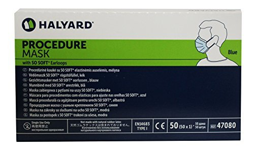Halyard Procedure Medical Health Masks with So Soft Earloops Box of 50 Blue