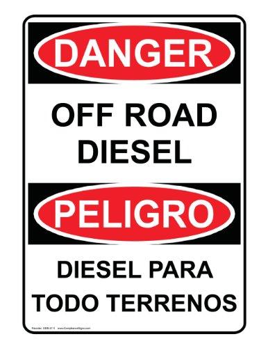 ComplianceSigns Vinyl OSHA DANGER Label, 7 x 5 in. with Diesel Info in English + Spanish, White