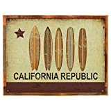 Cheap Wood-Framed California Republic Surf Metal Sign, Surfboards, California for kitchen on reclaimed, rustic wood