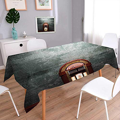 (Fitted Polyester Tablecloth  Movie Theme Old Abandoned Home with Antique Old Music Box Image Petrol Green Banquet Wedding Party Restaurant Tablecloth)