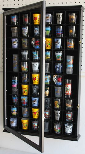 56 Shot Glass Shooter Display Case Holder Cabinet Wall Rack w/ Solid Wood- BLACK Finish