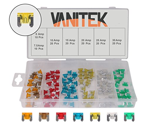 1 Fuse Kit - RamPro 120-Pc Car Truck Boat Fuse Assortment Kit - 5, 7.5, 10, 15, 20, 25, 30 AMP - Low Profile Mini Small APS/ATT Blade Fuses