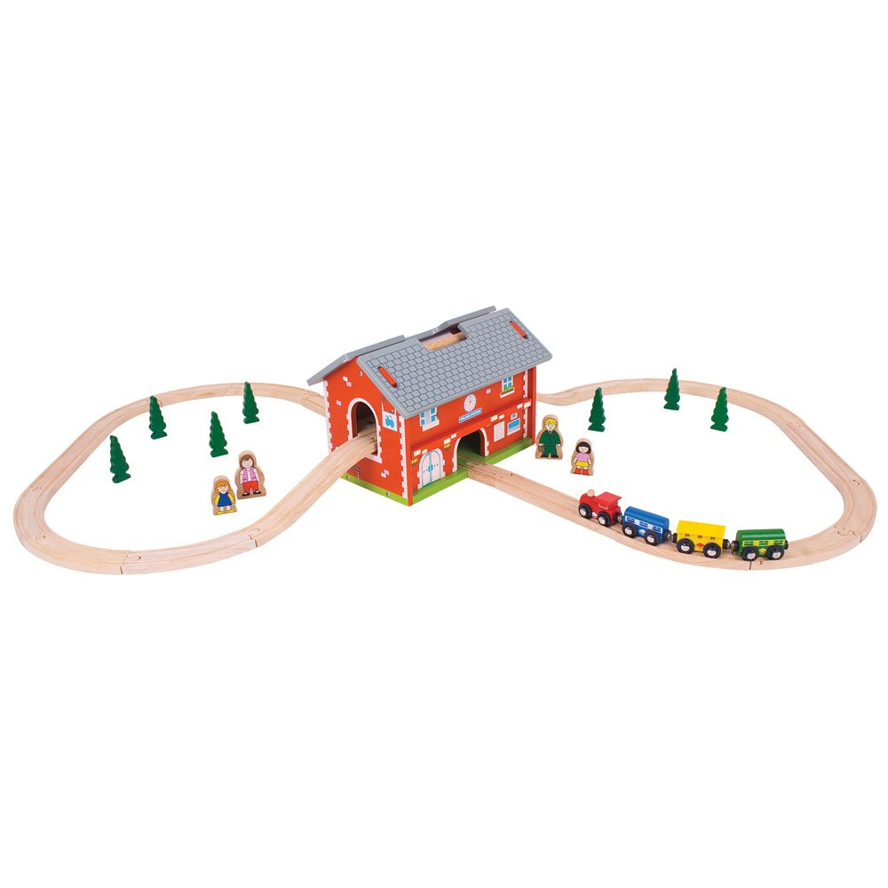 Bigjigs Rail Wooden Railway Station Carry Set Bigjigs Toys BJT024