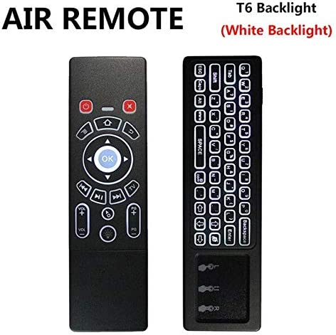 Color: White backlit Calvas T6 English Version 2.4G Air mouse with Wireless Keyboard /& touchpad Remote Control for Android TV Box mini PC Projector