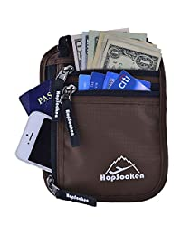 Hopsooken Travel Neck Pouch Passport Holder with Rfid Blocking, Use As Travel Wallet or Hidden Wallet - Protect Your Money, Passport, Credit Cards, Cell Phone and Documents,6 Pockets(New Brown)