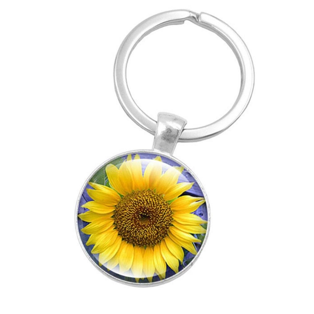 Ecosin Key Ring Sunflower Gem Metal Key Holder Europe And The United States Selling Glass