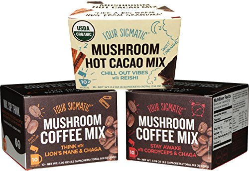 Four Sigmatic Mushroom Coffee and Hot Cacao Sampler Pack of 3 - Lions Mane Coffee, Cordyceps Coffee, and Reishi Hot Cacao
