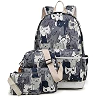 Kemy's Cat School Backpack for Girls Set 3 in 1 Cute Kitty Printed Bookbag 14inch Laptop School Bag for Girls Water Resistant Gift, Grey
