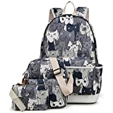 Kemy's Cat School Backpack for Girls Set 3 in 1 Cute Kitty Printed Bookbag 14inch Laptop School Bag for Girls Water Resistant Gift, Grey Review