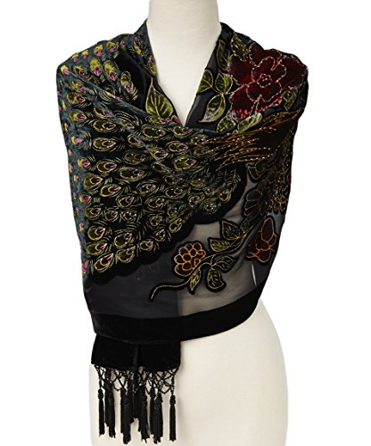 Pashmina Peacock Beaded Velvet Silk Tassels Embroidered Scarf Wrap Shawl