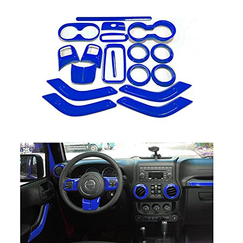 Opall 18PCS Full Set Interior Decoration Trim Kit Steering Wheel & Center Console Air Outlet Trim, Door Handle Cover Inner, Passenger Seat Handle Trim For Jeep Wrangler 2011-2017 4 Door (Blue Wrangler)