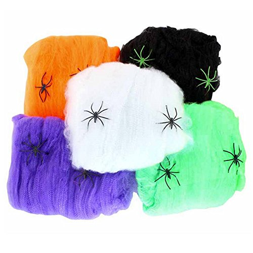 (Wendy Mall 5pcs Funny Bar Props Party Haunted House Halloween Decoration Stretchable Spider Webs with Plastic Spiders Colored Cotton)