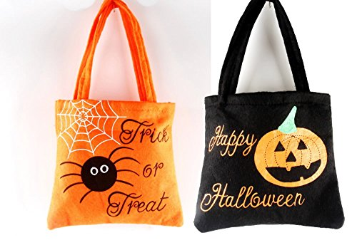 (Set of 2- Halloween Decorations Pumpkin Candy Bags for Kids)