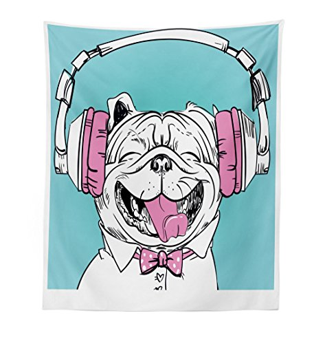 Lunarable Animal Tapestry, Cute Vintage Portrait of a Dog with Headphones Pop Art Hipster Sketch Image, Fabric Wall Hanging Decor for Bedroom Living Room Dorm, 23 W X 28 L Inches, Aqua Pink and White