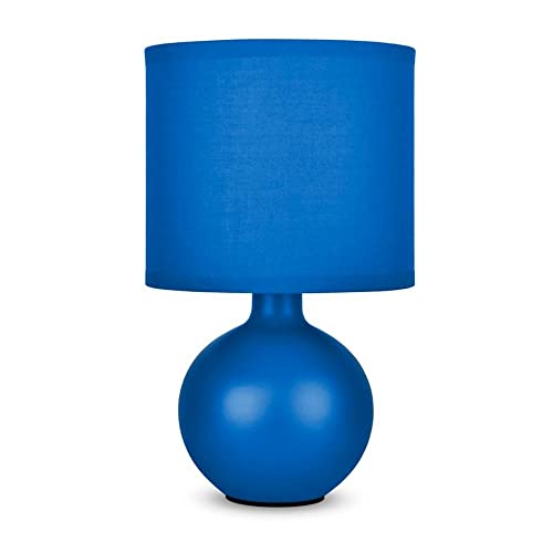 navy blue lamp grey blue minisun modern navy blue ceramic round table lamp with fabric shade lamp amazoncouk