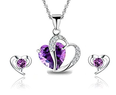 Gilind 925 Sterling Silver Amethyst Cubic Zirconia Pendant Necklace 18 inch Chain and Earrings Set for Women + Gift Box 7vQoivBlG7