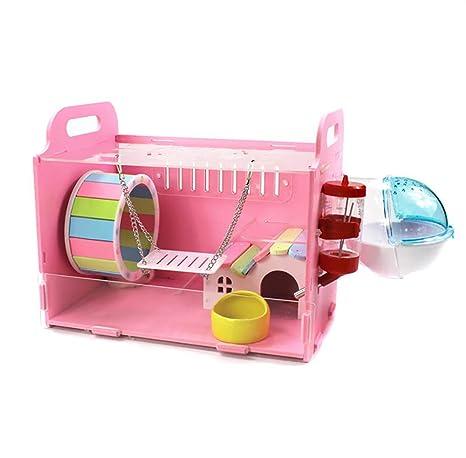 HEISHOP Jaulas para Hamsters, Villas y Juguetes, Color Rosa ...