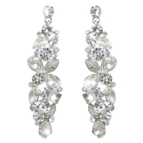 Rhinestone Cluster Earring - EVER FAITH Silver-Tone Bridal Tear Drop Flower Cluster Dangle Earrings Clear Crystal Rhinestone