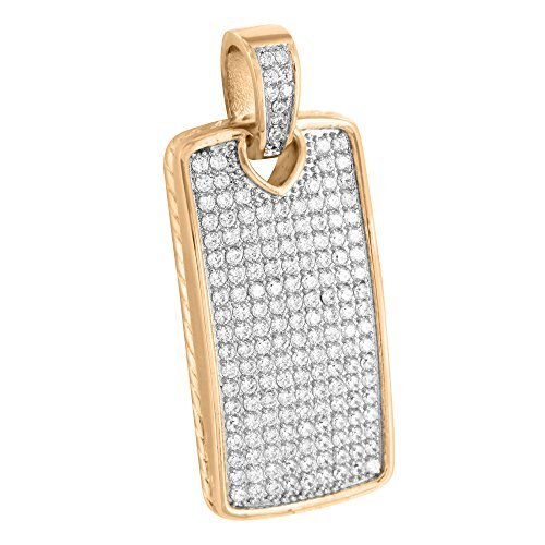 Rose Gold Dog Tag Pendant 14K Finish Solid Stainless Steel Lab Diamonds Designer by Master Of Bling