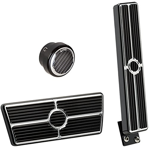 NEW BILLET SPECIALTIES BLACK ANODIZED 55-57 CHEVY PEDAL KIT FOR AUTOMATIC TRANSMISSIONS & NON-POWER BRAKES INCLUDING OEM-STYLE FLOOR MOUNT GAS PEDAL ASSEMBLY, BRAKE PEDAL PAD, AND ROUND DIMMER SWITCH COVER FOR TRI-5 1955 1956 1957 CHEVY BEL AIR 150 210 NOMAD DEL RAY SEDAN DELIVERY 55 Chevy Restoration Parts