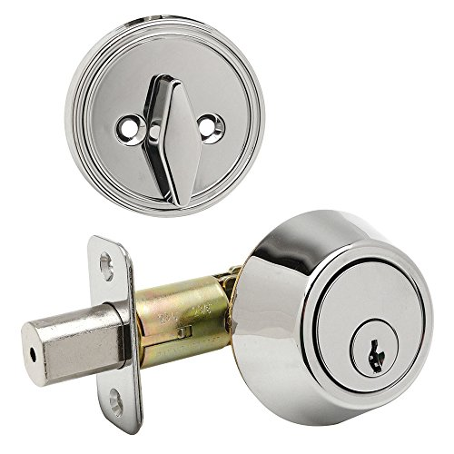 Designers Impressions Polished Chrome Single Cylinder Deadbolt Kwikset Keyway (We Key Lock Orders Alike for Free)