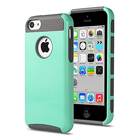 iPhone 5C Case, KAMII Dual Layer Hybrid Luxury Fashion Shockproof Soft Hard Plastic Hard Shell and Flexible TPU Case Cover for Apple iPhone 5C (Aqua (Iphone 5c Cases Of Mice And Men)