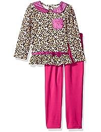 Little Girls' 2 Pieced Jaguar Print Pocket Shirt and Pant