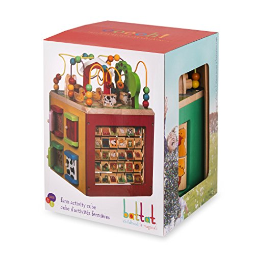 51eJl54KujL - Battat – Wooden Activity Cube – Discover Farm Animals Activity Center for Kids 1 year +