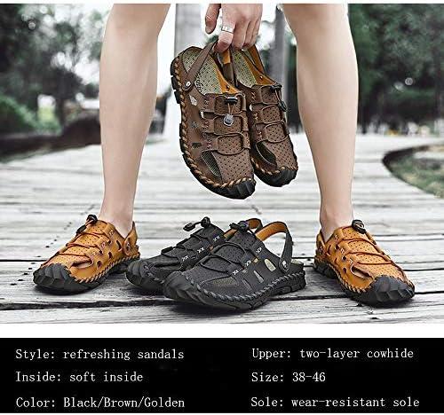 Heren Gesloten sandalen Zomerschoenen Platte sandalen Lichtgewicht antislip Wandelen Strandschoenen Dempende visser Atletische sandalen met brede pasvorm,Gold,42