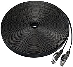 Cat 6 ethernet cable 50 ft, Flat Wire Rj45 High Speed Internet Network Patch cable slim with Clips, Faster than Cat5e/Cat5 with snagless Connectors for PS4, Xbox one, Switch Boxes, Modem, Router-Black