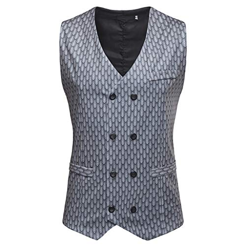 Men's Fashion Business Casual Gold Stamping Printing Waistcoat Tops -